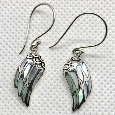 ER 14507 MP-(925 BALI SILVER ANGEL WINGS EARRINGS WITH MOTHER OF PEARL)