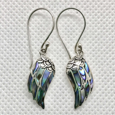 ER 14507 AB-(925 BALI SILVER ANGEL WINGS EARRINGS WITH ABALONE)