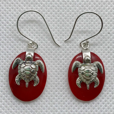 ER 13623 B-CR-(925 BALI SILVER TURTLE OVAL EARRINGS WITH CORAL)