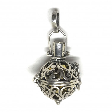 BD 12958-(HANDMADE 925 BALI SILVER HARMONY BALL PENDANT WITH MIX STONE 16 MM)