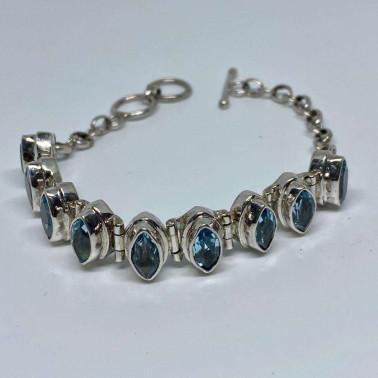 BR 13813 B-HANDMADE 925 BALI SILVER BRACELET WITH BLUE TOPAZ
