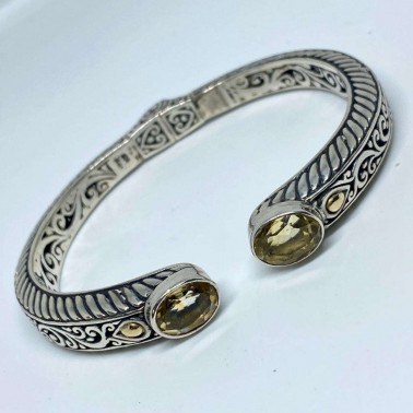 BR 13418 CT-(HANDMADE 925 BALI SILVER HINGED CUFF BRACELET 18KT GOLD ACCENT WITH  CITRINE)