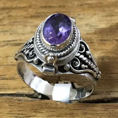 RR 13764 AM-BALI 925 SILVER POISON RINGS WITH AMETHYST