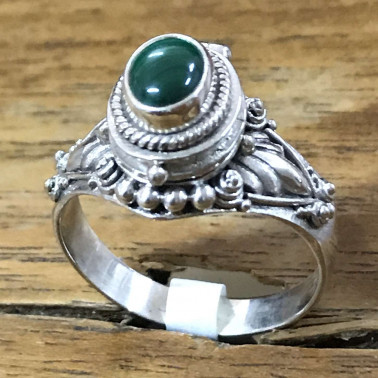 RR 13822 ML-BALI 925 SILVER POISON RING WITH MALACHITE