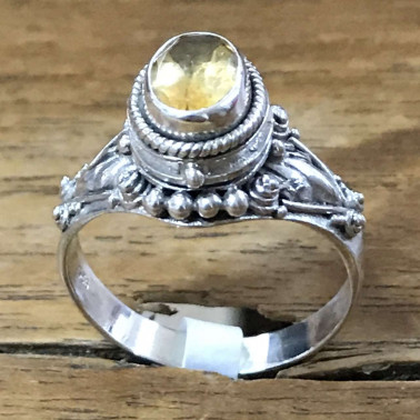 RR 13822 CT-BALI 925 SILVER POISON RINGS WITH CITRINE