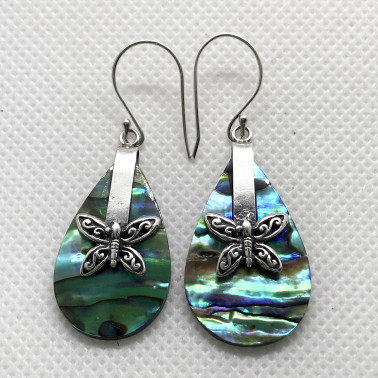ER 13621 AB-BALI 925 STERLING SILVER EARRINGS WITH ABALONE