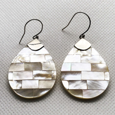 ER 09050 MP-BALI 925 STERLING SILVER EARRINGS WITH MOP