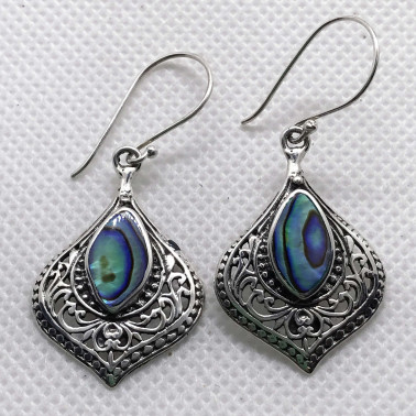 ER 14504 AB-BALI 925 STERLING SILVER EARRINGS WITH ABALONE