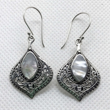 ER 14504 MP-BALI 925 STERLING SILVER EARRINGS WITH MOP