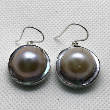 ER 05886-BALI 925 STERLING SILVER EARRINGS WITH SHELL