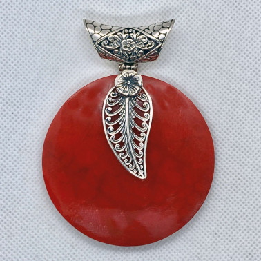 PD 14599 CR-( 60 MM 925 BALI SILVER PENDANT WITH RED CORAL )