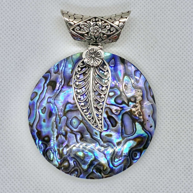 PD 14599 AB-( 60 MM 925 BALI SILVER PENDANT WITH ABALONE )