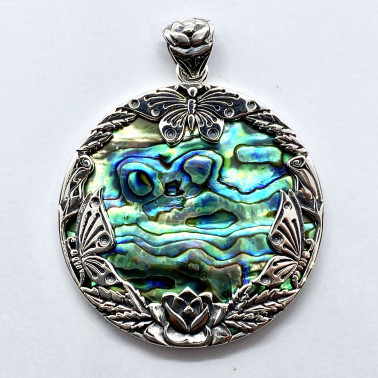 PD 14725 AB-(HANDMADE 925 BALI SILVER BUTTERFLY PENDANT WITH ABALONE)