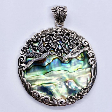 PD 14727 AB-(HANDMADE 925 BALI SILVER BIRDS PENDANT WITH ABALONE)