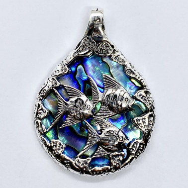 PD 14724 AB-(HANDMADE 925 BALI SILVER FISH PENDANT WITH ABALONE)