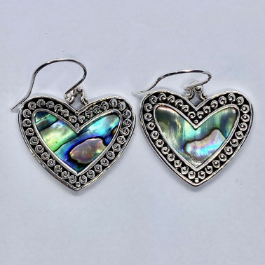 ER 14720 AB-BALI 925 STERLING SILVER EARRINGS WITH ABALONE
