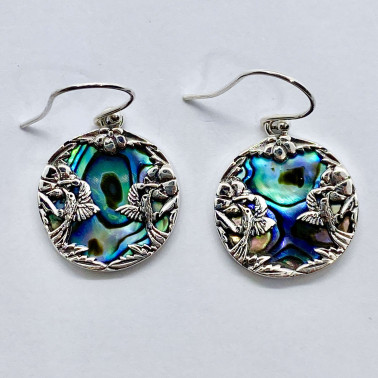 ER 14728 AB-BALI 925 STERLING SILVER EARRINGS WITH ABALONE