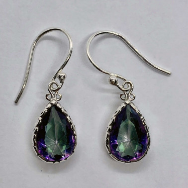 ER 14655 B-MT-(HANDMADE 925 BALI SILVER EARRINGS WITH TEAR DROP MYSTIC TOPAZ)