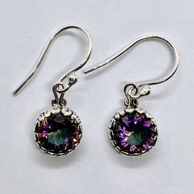 ER 13896 B-MT-(HANDMADE 925 BALI SILVER EARRINGS WITH ROUND MYSTIC TOPAZ)