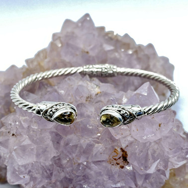 BR 14572 B-CT-(Twisted Cable 925 Bali Sterling Silver Hinged Cuff Bracelet with Citrine)