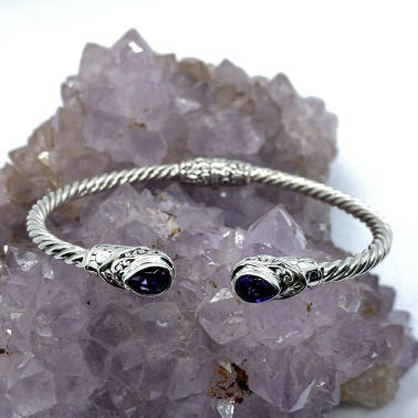 BR 14572 B-AM-(Twisted Cable 925 Bali Sterling Silver Hinged Cuff Bracelet with Amethyst)