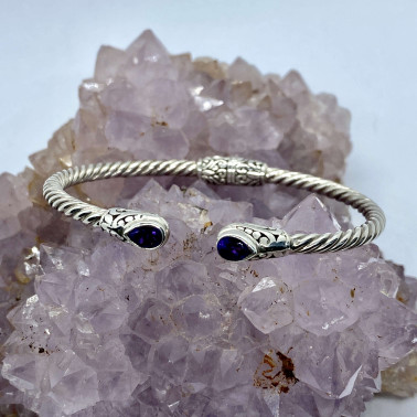 BR 14572 AM-(Twisted Cable 925 Bali Sterling Silver Hinged Cuff Bracelet with Amethyst)