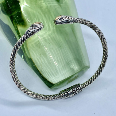 BR 14572-(HANDMADE 925 BALI SILVER HINGED CUFF BRACELET WITH 18K GOLD ACCENT)
