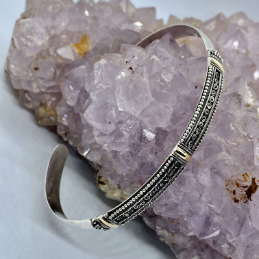 BR 14487 C-(HANDMADE 925 BALI SILVER CUFF BRACELET WITH 18K GOLD ACCENT)