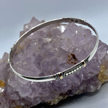 BR 12307-(HANDMADE  925 BALI SILVER BANGLE BRACELET WITH 18K GOLD ACCENT)