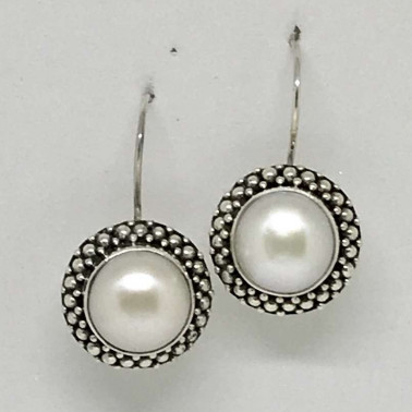 ER 11288 PL-(HANDMADE 925 BALI SILVER EARRINGS WITH MABE PEARL)