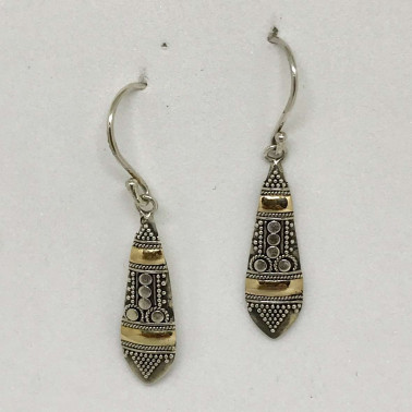 ER 12529-BALI SILVER EARRINGS WITH 18KT GOLD ACCENT