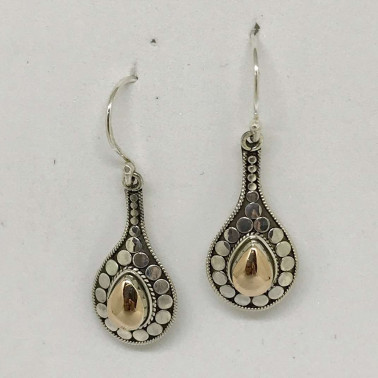 ER 12536-(UNIQUE 925 BALI SILVER ARMADILLO EARRINGS WITH 18 KT GOLD ACCENT)