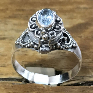 RR 13782 TP-BALI 925 SILVER POISON RINGS WITH TOPAZ