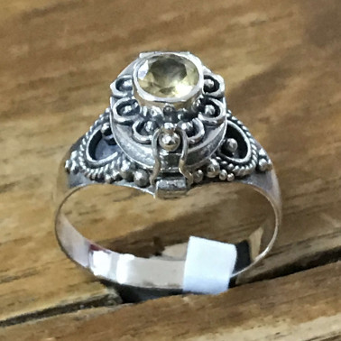 RR 13782 CT-BALI 925 SILVER POISON RINGS WITH CITRIN