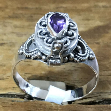 RR 13782 AM-BALI 925 SILVER POISON RINGS WITH AMETHYST