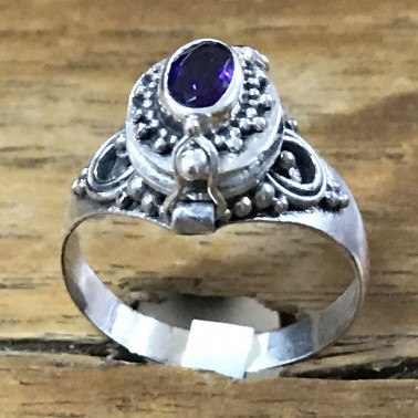 RR 13778 AM-BALI 925 SILVER POISON RINGS WITH AMETHYST