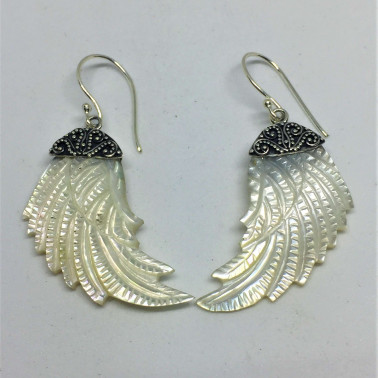 ER 12717 MP-(HANDMADE  925 BALI SILVER ANGEL WINGS EARRINGS WITH MOTHER OF PEARL)