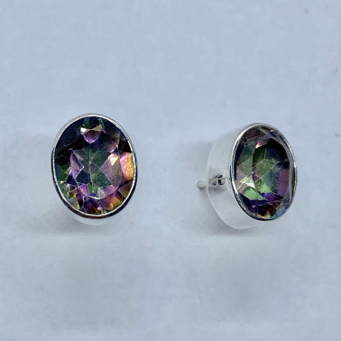 ER 10337 A-MT-(HANDMADE 925 BALI SILVER EARRINGS WITH MYSTIC TOPAZ)
