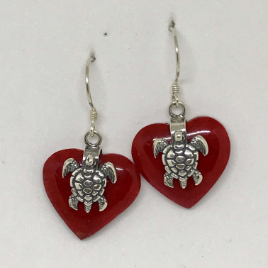 ER 13623 A-CR-(925 BALI SILVER TURTLE HEART EARRINGS WITH RED CORAL)