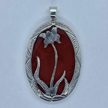 PD 11095 CR-(HANDMADE 925 BALI SILVER LOTUS FLOWER PENDANT WITH CORAL)