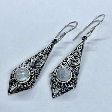 ER 13865 MS-BALI SILVER EARRINGS WITH MOONSTONE