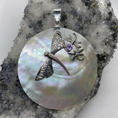 PD 13246 MP-(UNIQUE 925 BALI SILVER DRAGONFLY PENDANT WITH MOP)