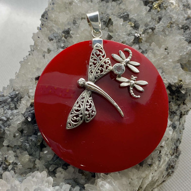 PD 13246 CR-(UNIQUE 925 BALI SILVER DRAGONFLY PENDANT WITH CORAL)
