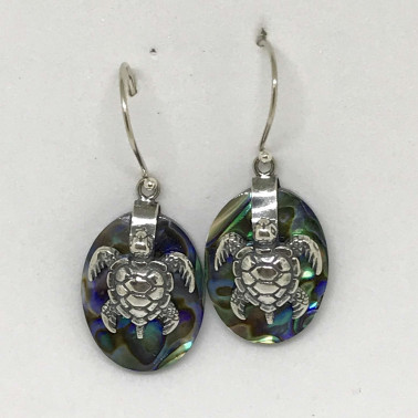 ER 13623 B-AB-(925 BALI SILVER TURTLE OVAL EARRINGS WITH ABALONE)