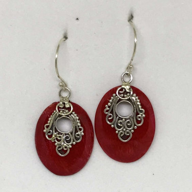 ER 13678 CR-BALI SILVER EARRINGS WITH CORAL