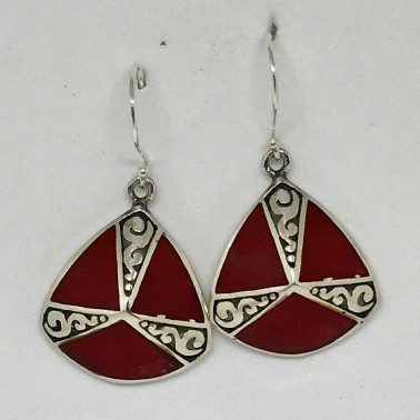 ER 13296 CR-BALI SILVER EARRINGS WITH RED CORAL