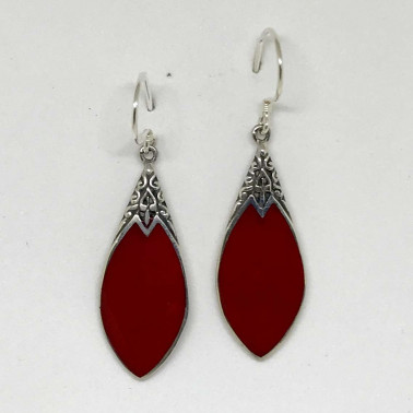 ER 13251 CR-(HANDMADE 925 BALI SILVER EARRINGS WITH RED CORAL)
