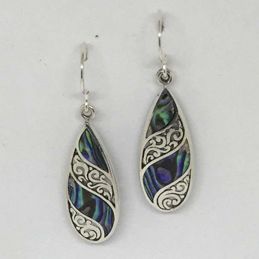 ER 12127 AB-BALI SILVER EARRINGS WITH ABALONE