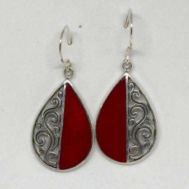 ER 12314 CR-BALI SILVER EARRINGS WITH RED CORAL