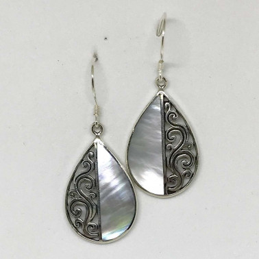 ER 12314 MP-BALI SILVER EARRINGS WITH MOP